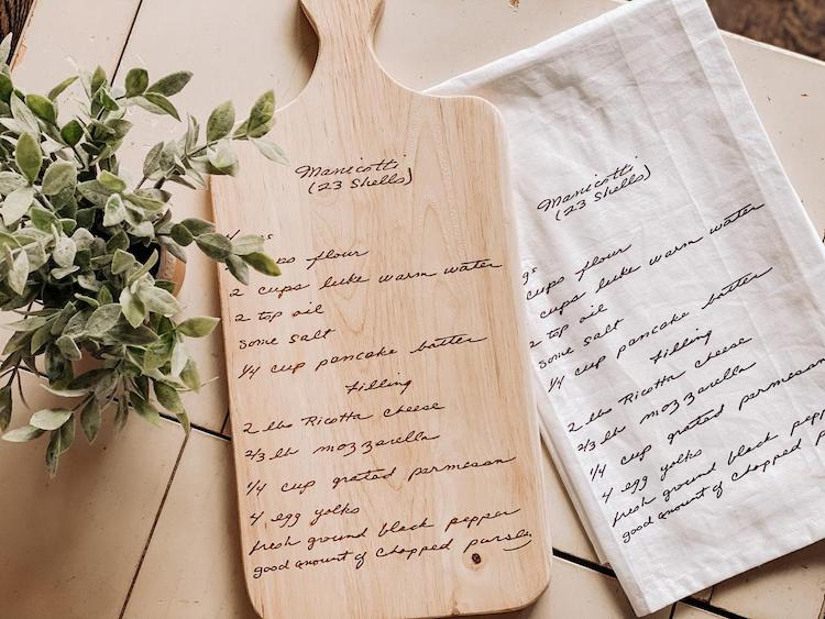 Engraved Recipe on Cutting Board and Tea Towel
