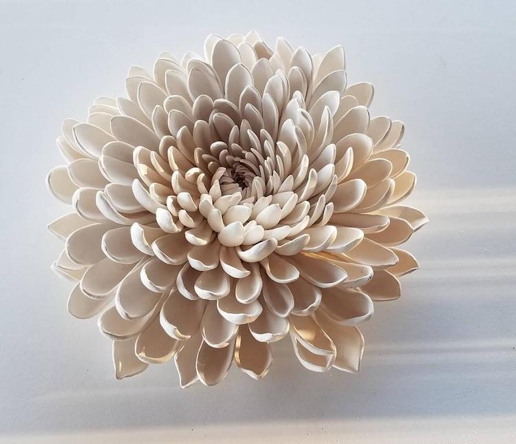 Porcelain Chrysanthemum Flower Wall Piece