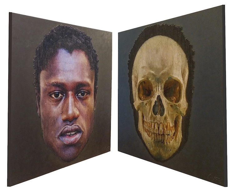 Kinetic Wall Art of a Man and Skull