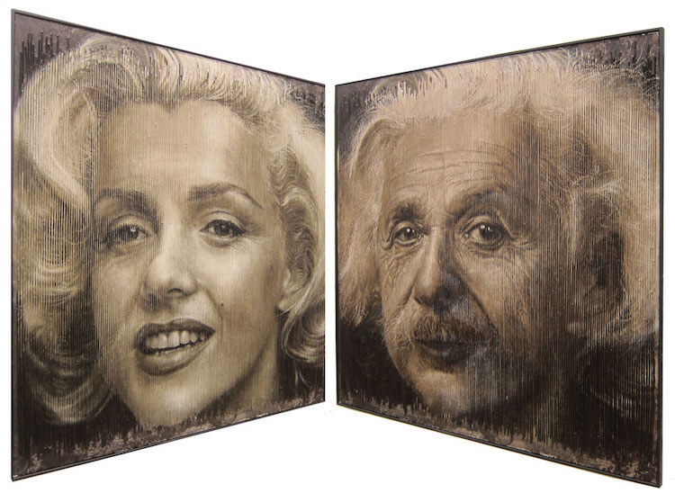 Kinetic Wall Art of Marilyn Monroe and Albert Einstein