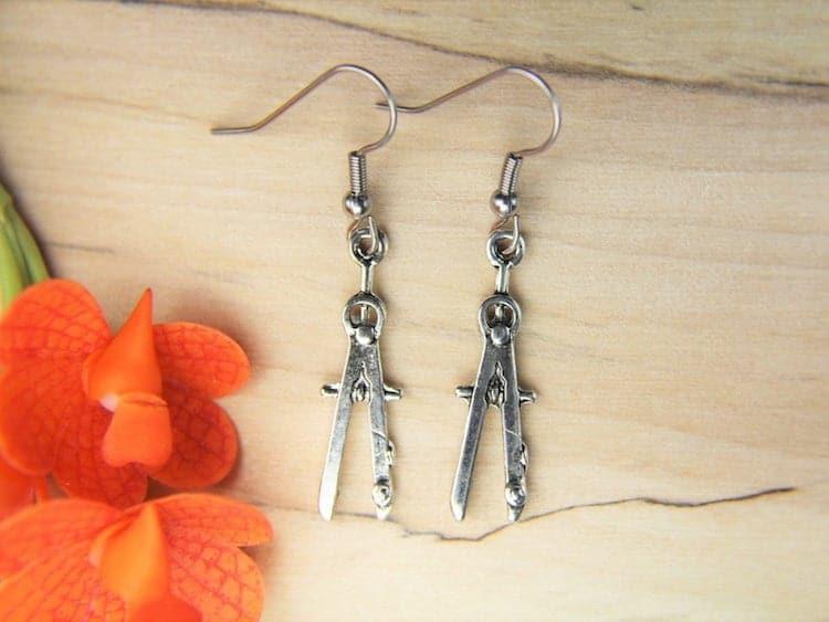 Silver Protractor Earrings