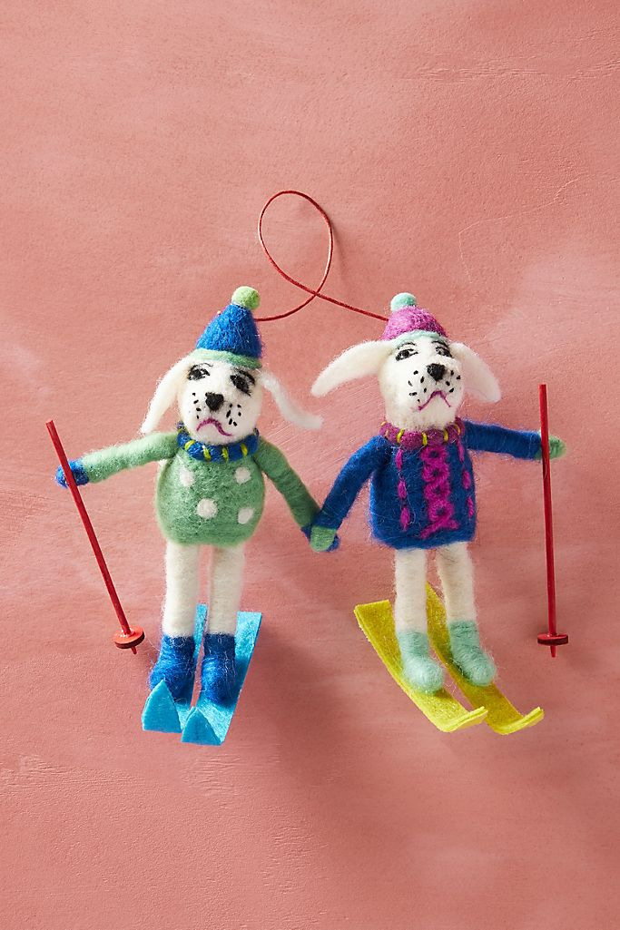Skiing Poodles Felted Christmas Ornament
