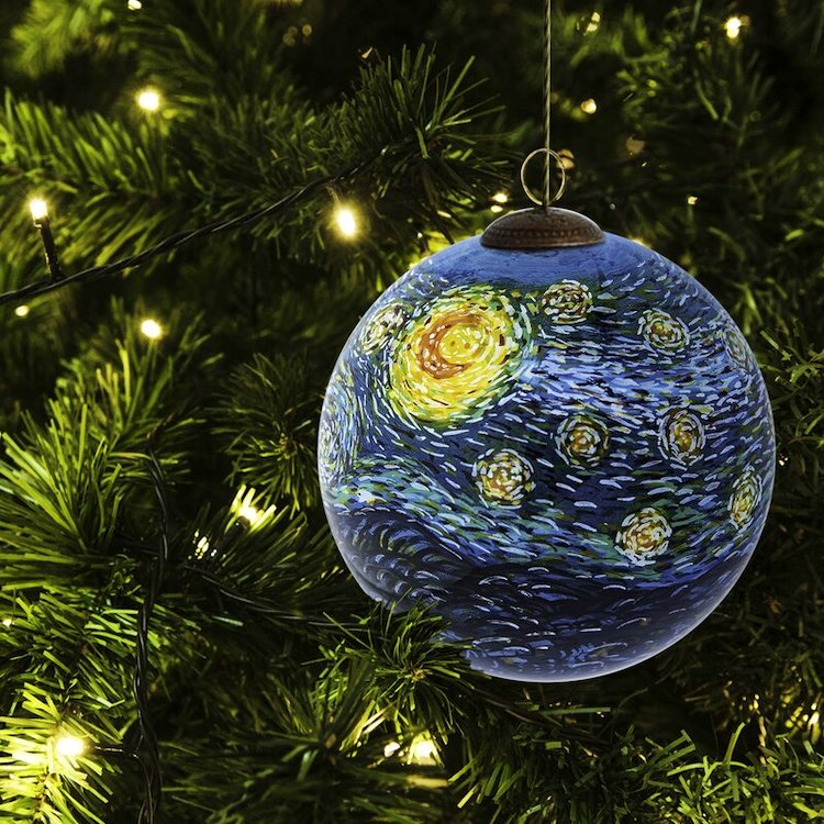 Starry Night Painted Christmas Ornament