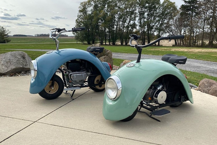 VW Beetle transformado en una mini bicicleta