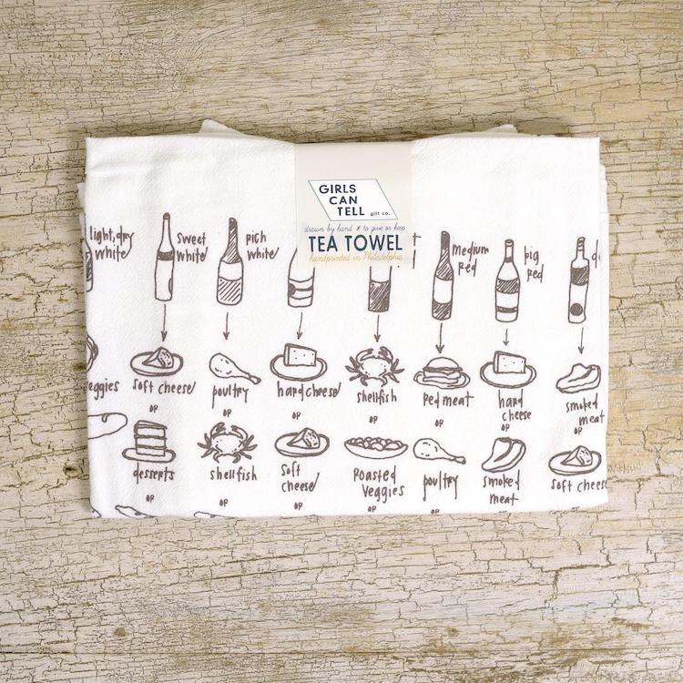Food and Wine Pairing Tea Towel