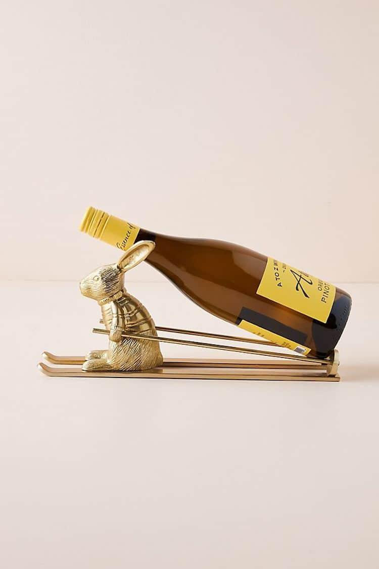 Skiing Hare Wine Holder
