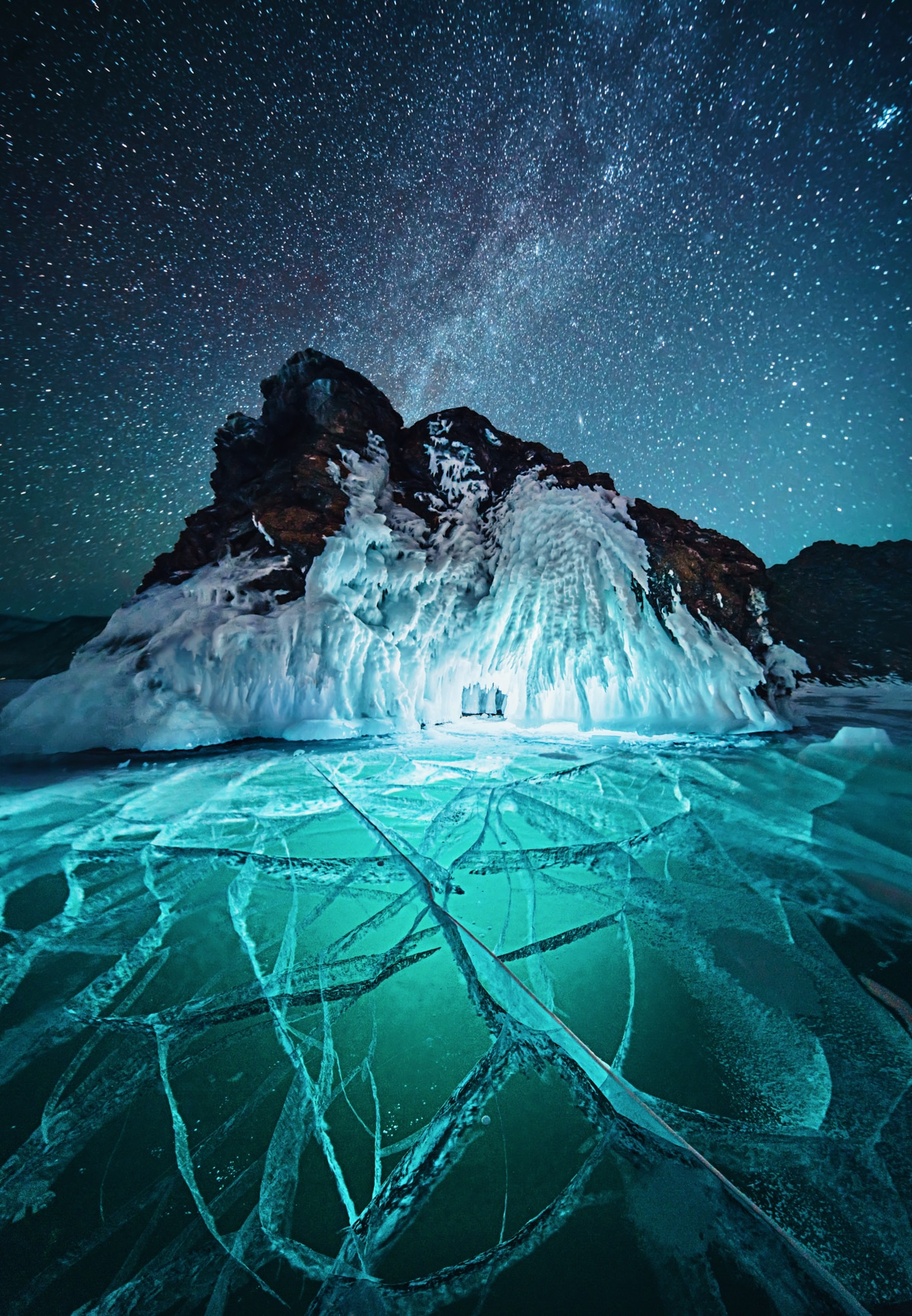 Lake Baikal at Night Under Lights
