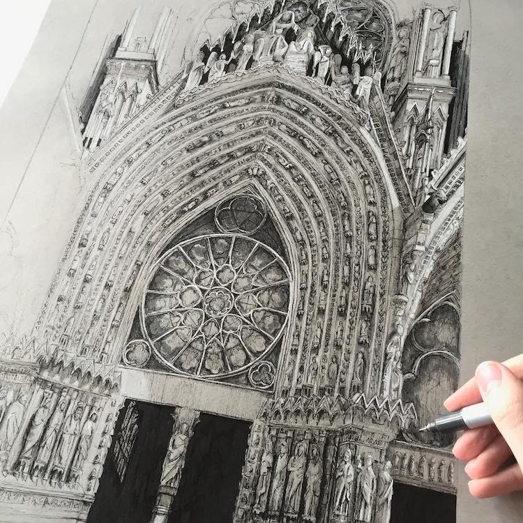 dibujos arquitectonicos arquitectura gotica europa