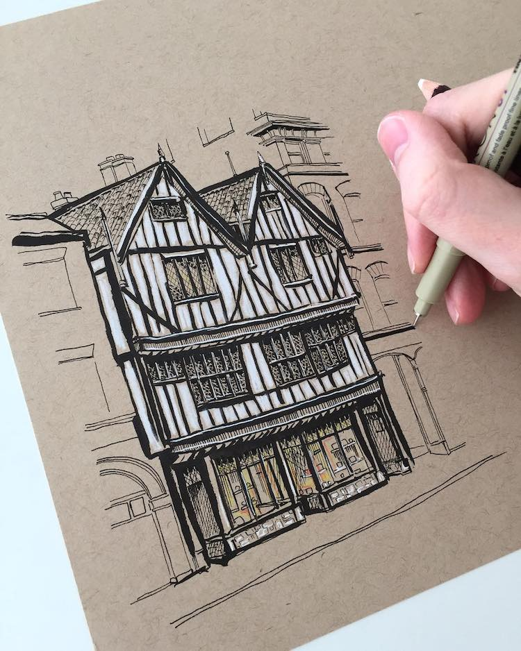 Architecture Sketches by Phoebe Atkey