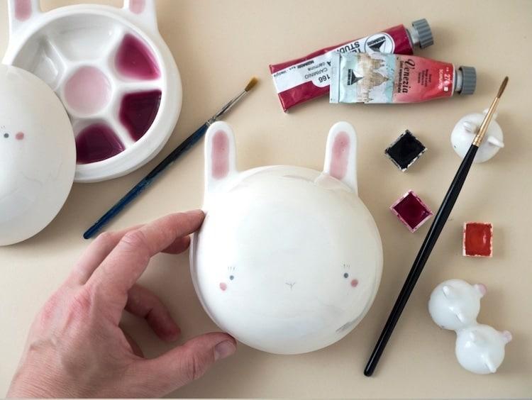 Paleta de cerámica de conejo