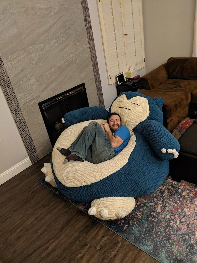 Hand Crocheted Snorlax Bean Bag Is A Perfect Pokemon For
