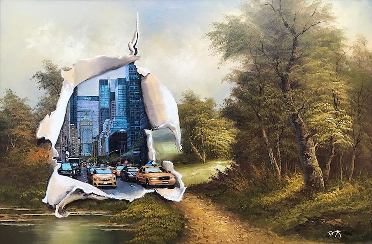 Altered Thrift Store Paintings by Dave Pollot