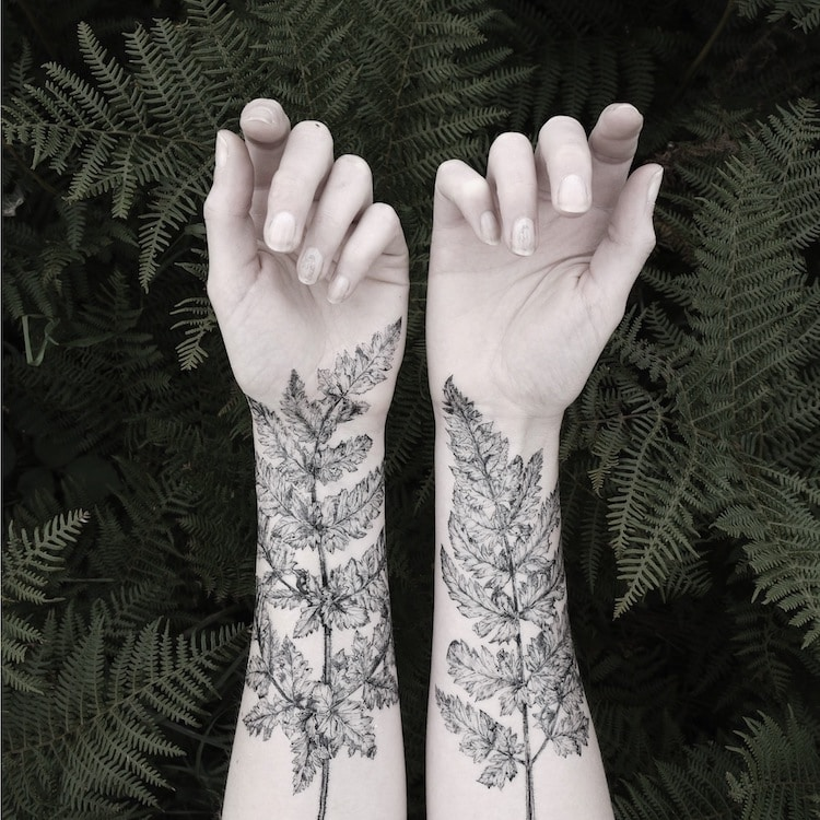 Fern and Crystal Temporary Tattoos