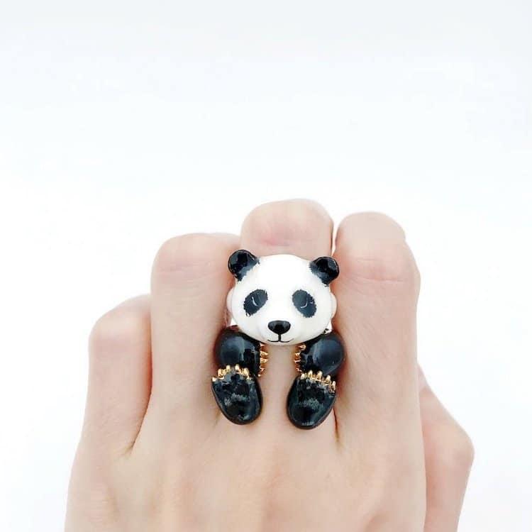anillo ajustable de panda