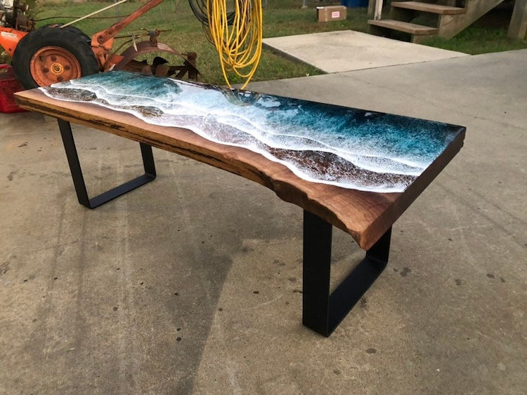 Ocean-Inspired Resin Art on Wood Table