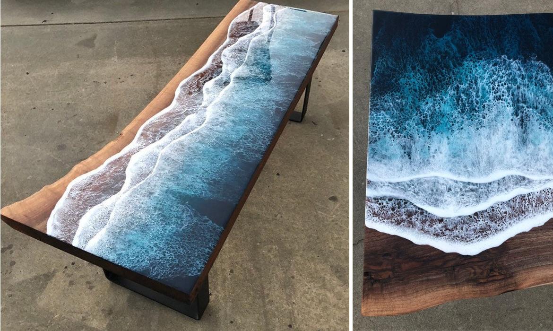 mesa de madera y resina