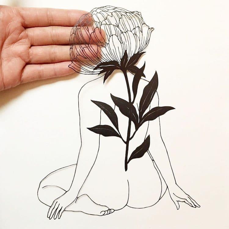 Ilustraciones hechas con la técnica del papel calado por Kanako Abe