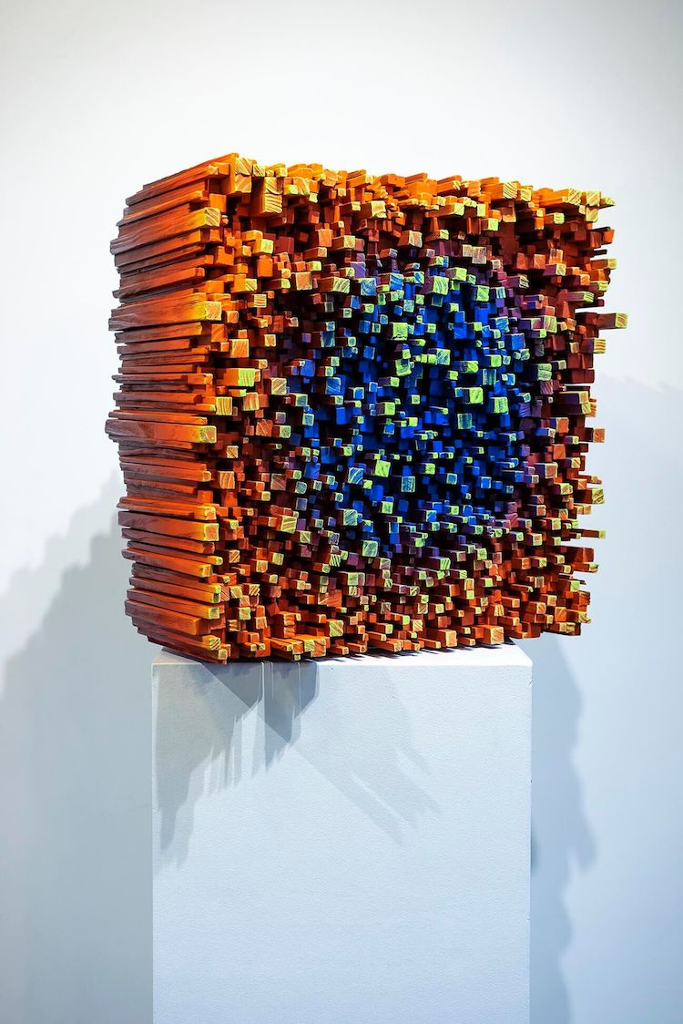 Pixelated Wood Sculpturesby Gil Bruvel