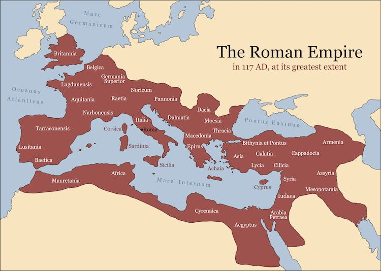 Roman Empire Map in 117 AD