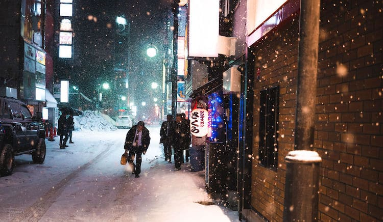 Snow Falling in Sapporo