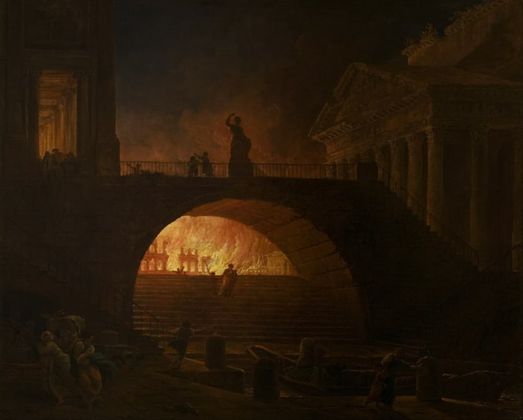 The Fire of Rome Painting by Hubert Robert
