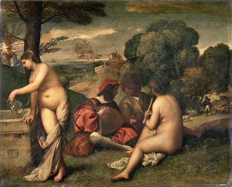 Titian and Giorgione Painting Pastoral Concert