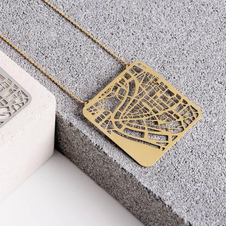 Rome Map Necklace