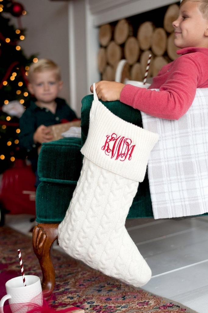 Monogrammed Knit Christmas Stocking