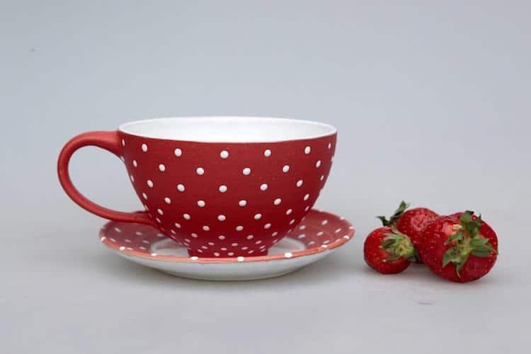 Amanita Cup with Matching Saucer