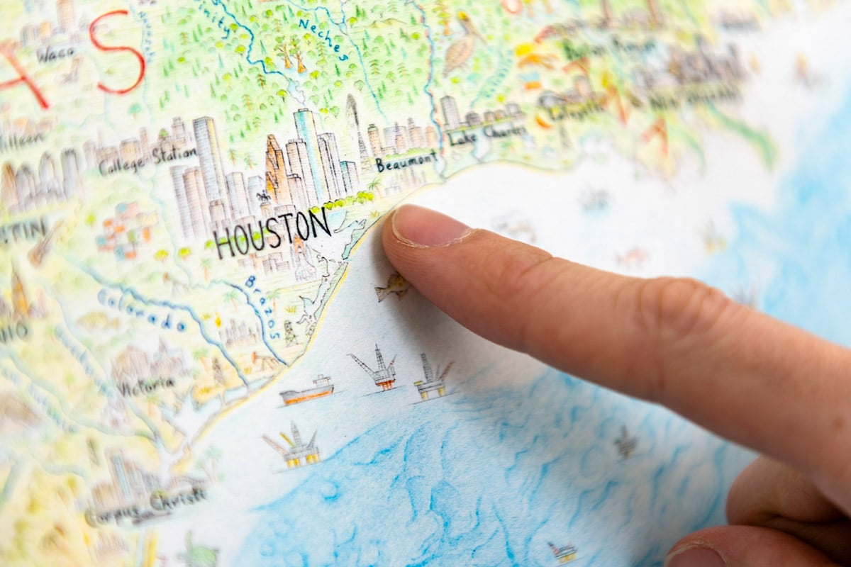 Hand Drawn Map of Houston