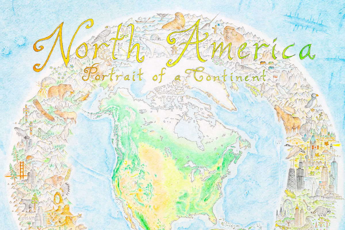 Large Hand Drawn Map of North America