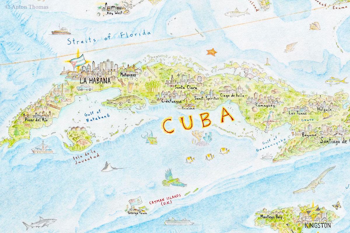 dibujo de mapa de cuba