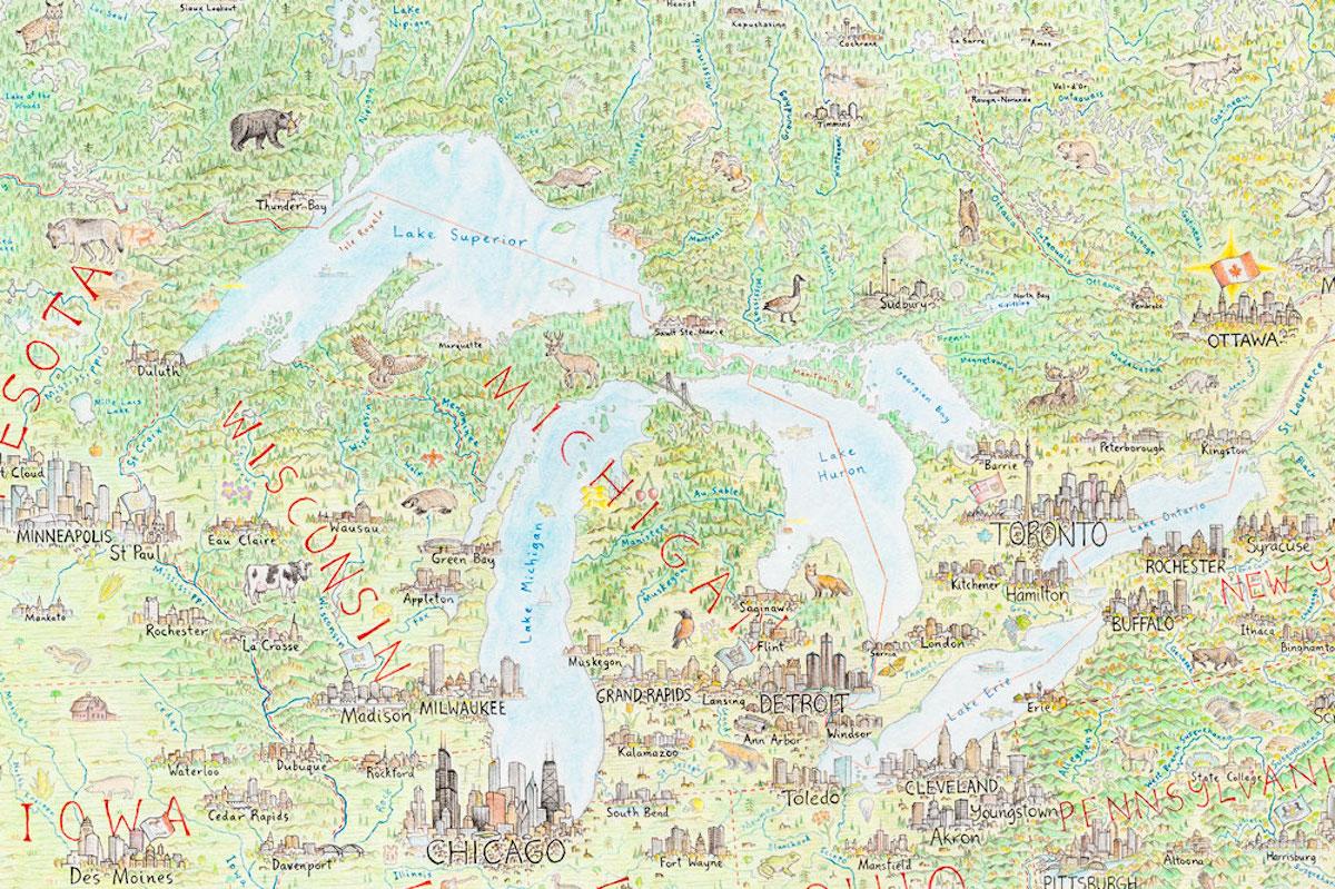dibujo de mapa de estados unidos