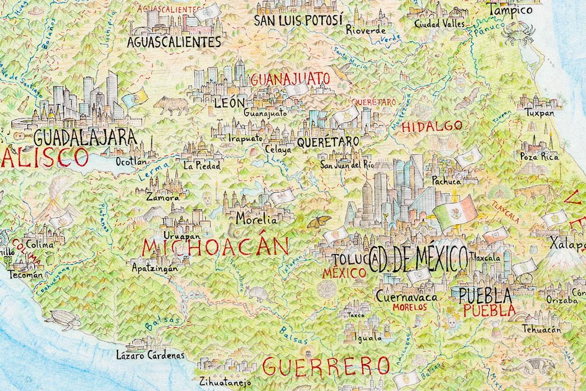 dibujo de mapa de mexico