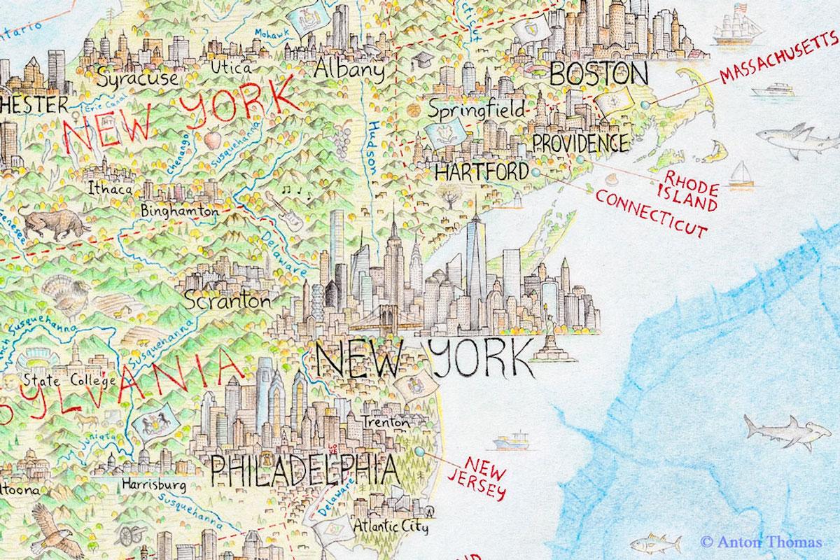 dibujo de mapa de nueva york