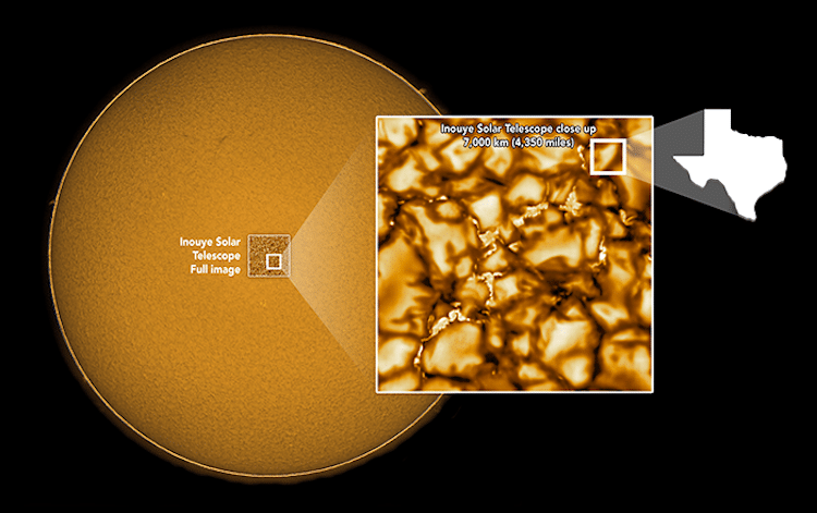 Explanation of Close Up Photograph of the Sun's Surface
