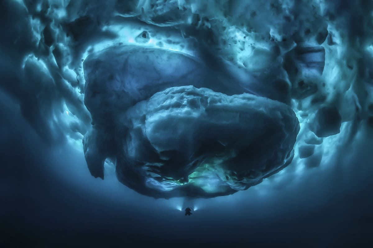 Underwater Photograph of Iceberg in Greenland