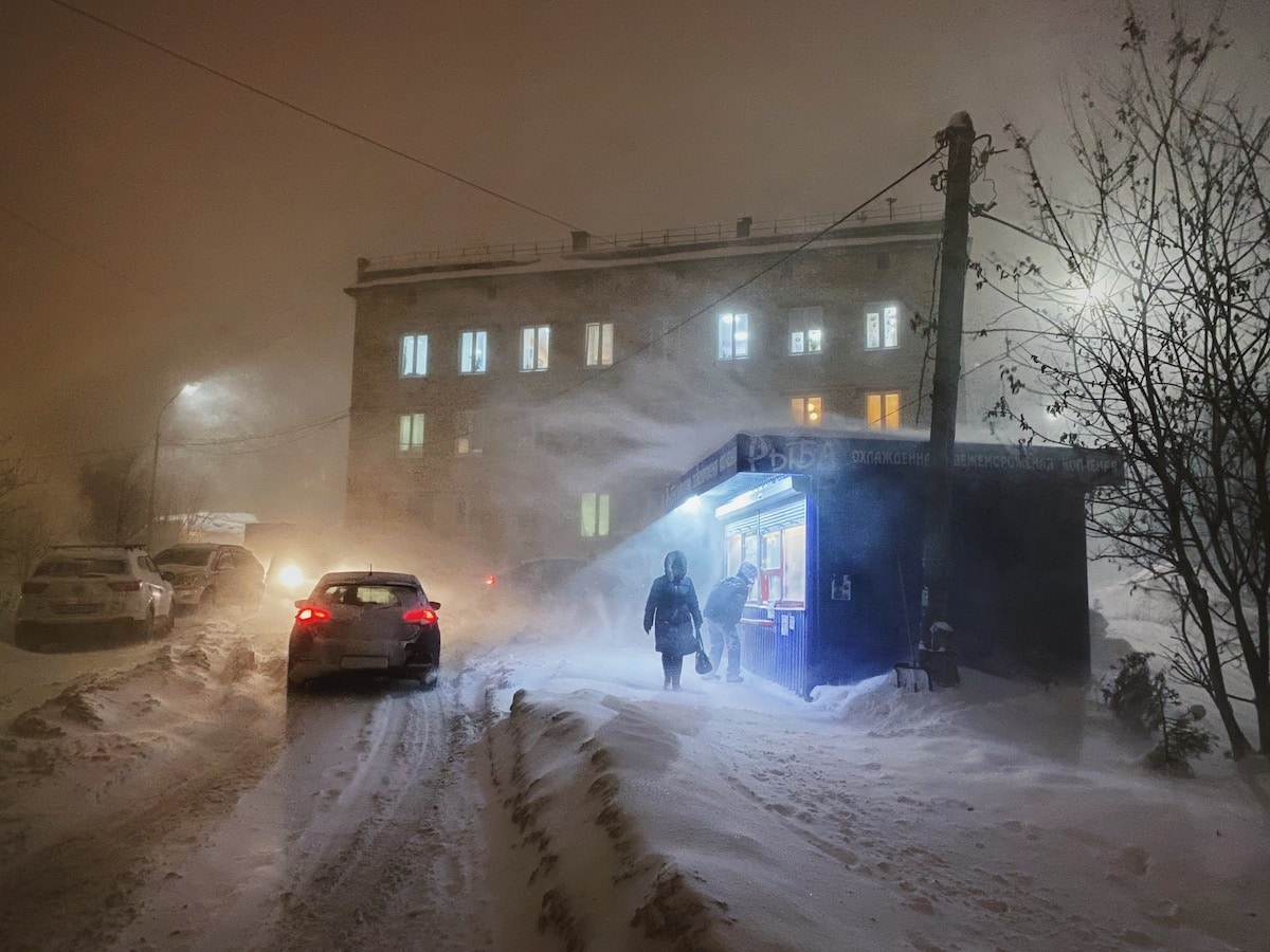 Murmansk During Polar Night