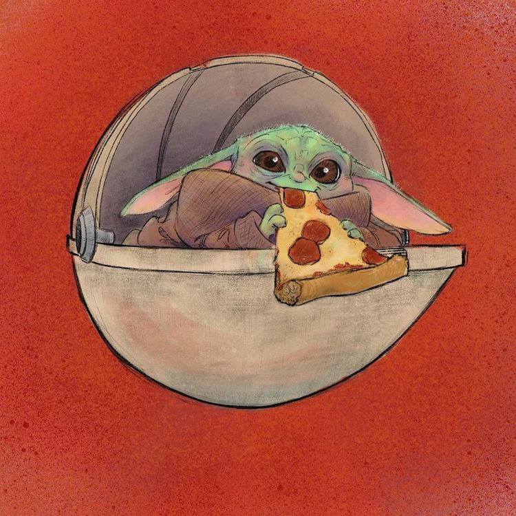 Star Wars Baby Yoda Eating a Slice of Pizza