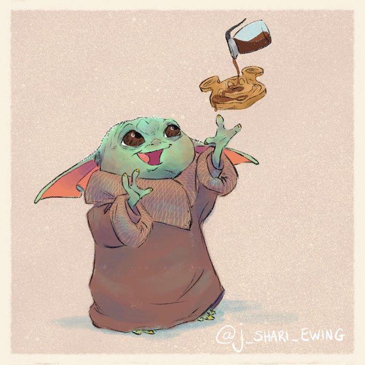 Baby Yoda Drawing by J. Shari Ewing
