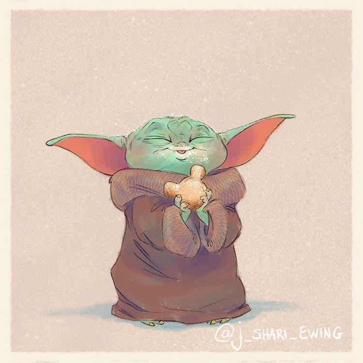 Baby Yoda Art by J. Shari Ewing