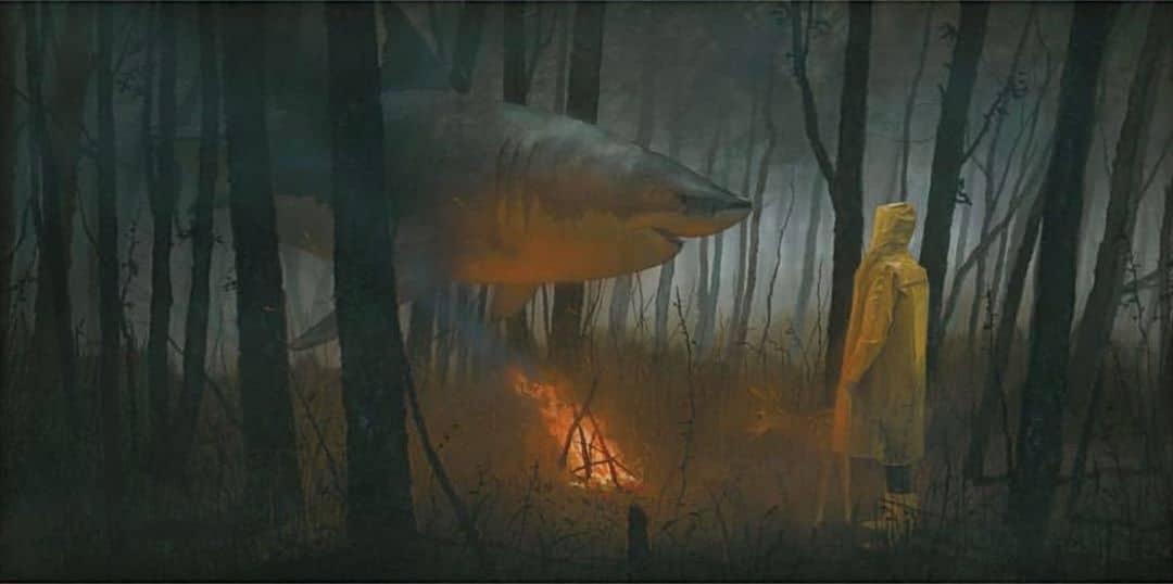 pinturas de tiburones Chris Austin