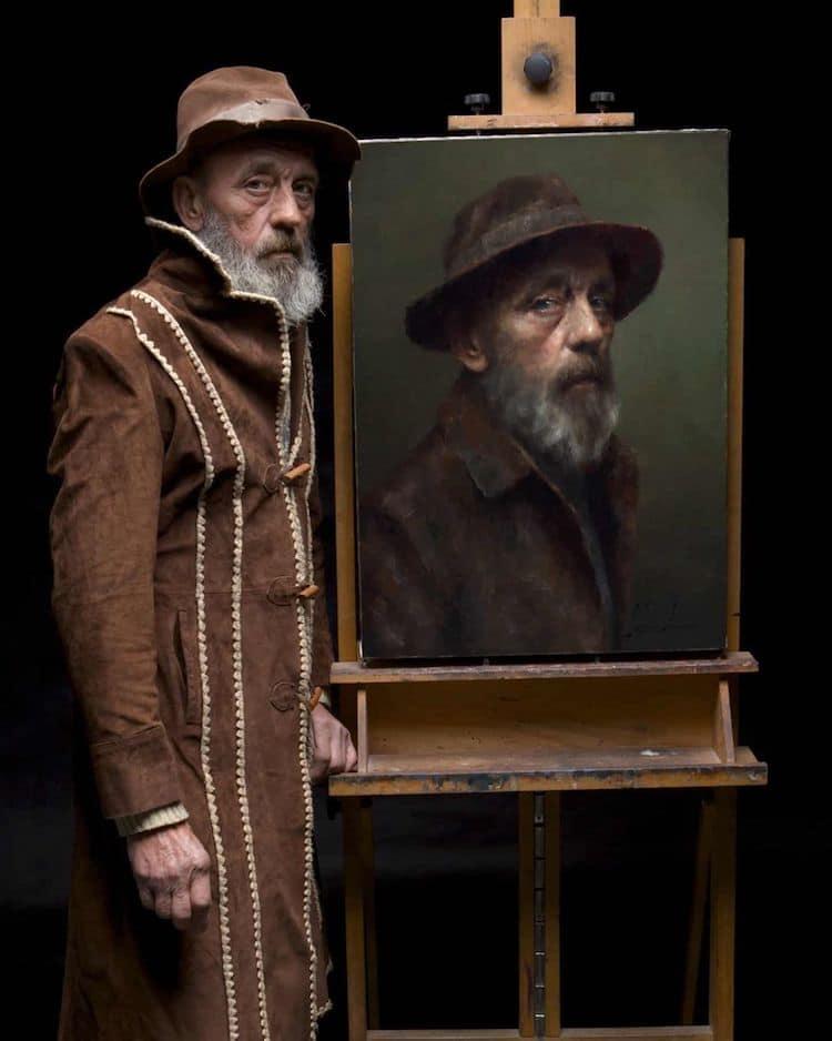 Retrato al óleo realista de Damian Lechoszest