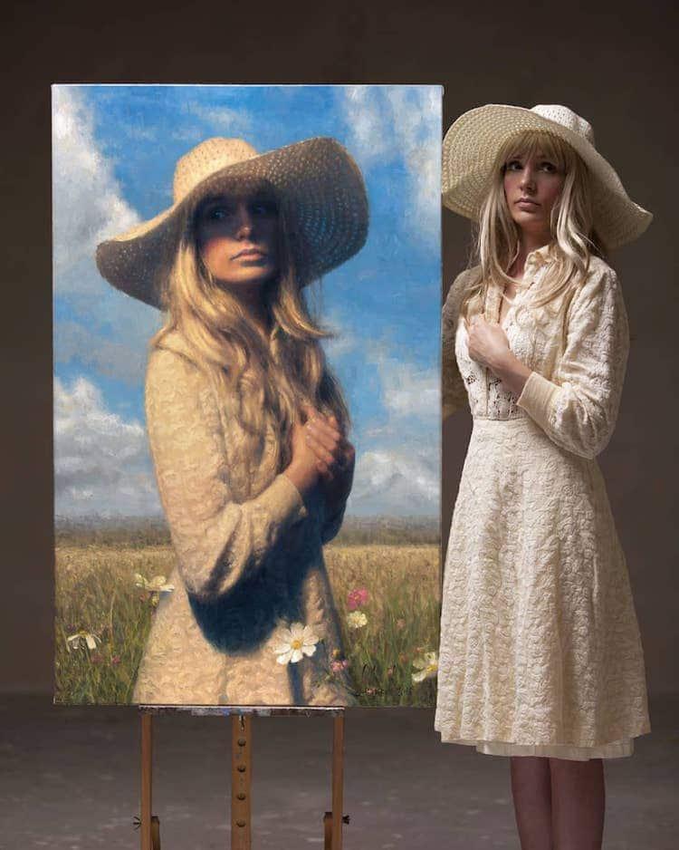 Retratos al óleo realistas de Damian Lechoszest