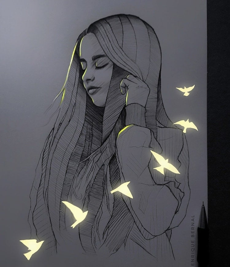 Dessins fluorescents par Enrique Bernal