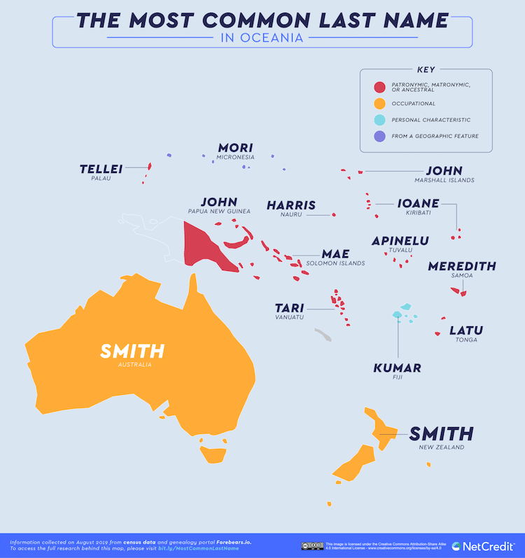 Most Common Surnames Map by NetCredit