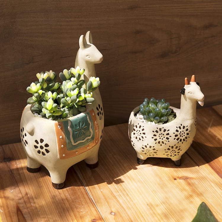 Llama and Goat Planter Set