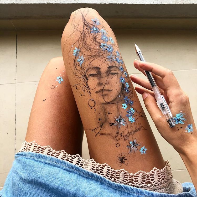 Artist Uses Her Body As A Canvas In Series Of Beautiful Ink Drawings