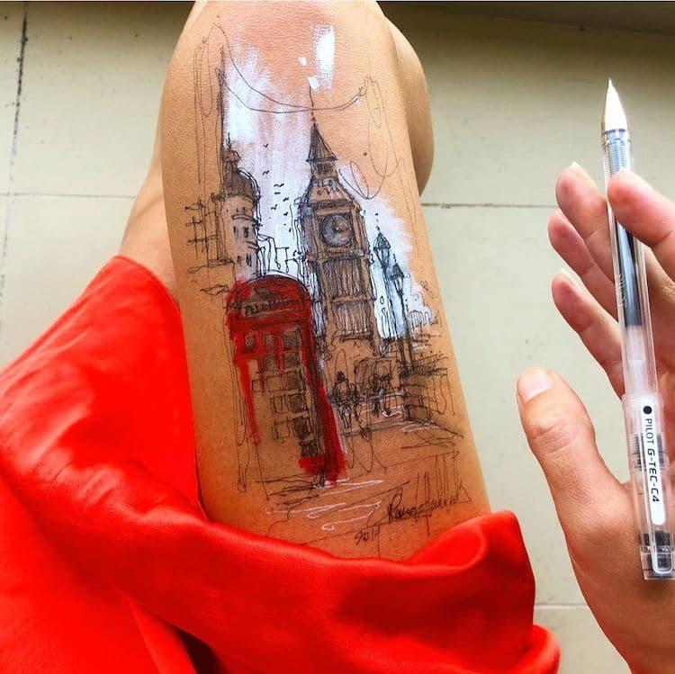 Ilustraciones pintadas sobre el cuerpo