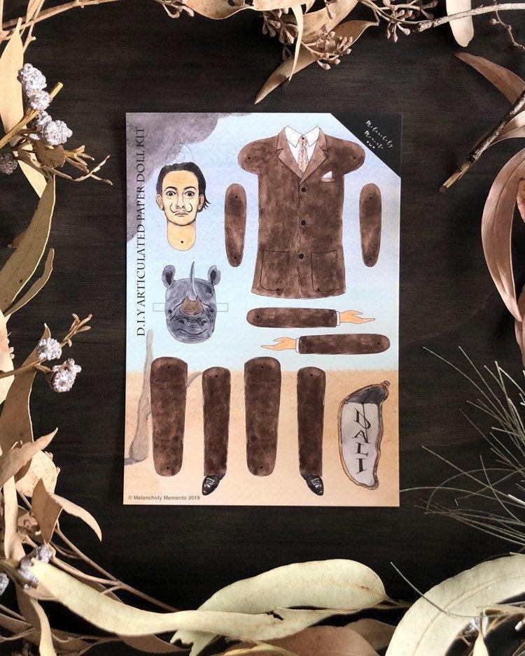 muñeco de papel de Salvador Dalí